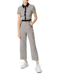 Maje Penala Tweed Jumpsuit - Black