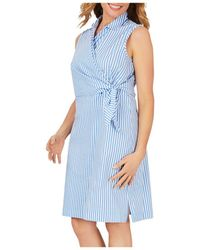 Foxcroft Striped Wrap Dress - Blue