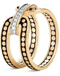 John Hardy - 18k Yellow Gold Dot Diamond Ring - Lyst