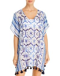 Echo Shibori Tassel Caftan Swim Cover - Up - Blue