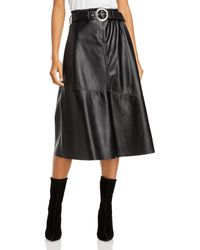 Blank NYC Belted Faux Leather Midi Skirt - Black