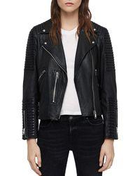AllSaints - Estella Quilted Leather Biker Jacket - Lyst