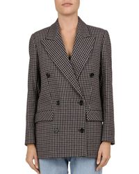 The Kooples - Cappotto Double-breasted Checked Blazer - Lyst