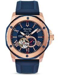 Bulova Men's Marine Star Heartbeat Automatic Silicone Strap Watch - Blue