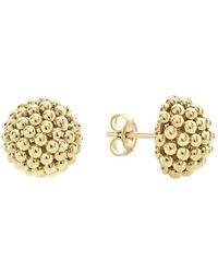 Lagos Caviar Gold Collection 18k Gold Stud Earrings - Metallic