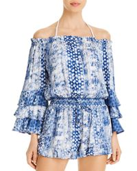 Surf Gypsy Off - The - Shoulder Printed Romper Swim Cover - Up - Blue