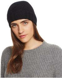 C By Bloomingdale's Waffle Knit Cashmere Hat - Black
