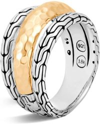 John Hardy - Classic Chain Hammered 18k Gold And Sterling Silver Triple Band Ring - Lyst