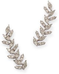 Bloomingdale's Diamond Leaf Ear Climbers In 14k White Gold
