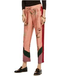 Scotch & Soda Printed Color-block Pants - Red