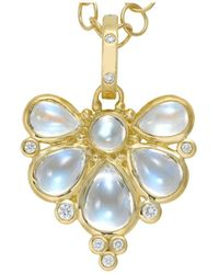 Temple St. Clair - 18k Yellow Gold Wing Pendant With Royal Blue Moonstone And Diamonds - Lyst