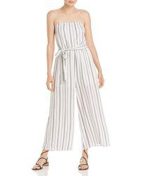 Aqua Striped Strapless Jumpsuit - White