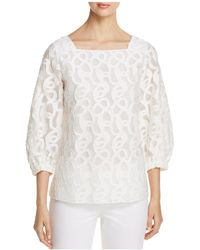 Lafayette 148 New York - Harper Embroidered Burnout Blouse - Lyst