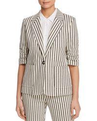 Karen Kane - Striped Ruched-sleeve Jacket - Lyst