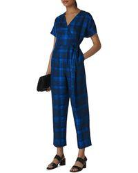 Whistles Check Wrap Linen Jumpsuit - Blue