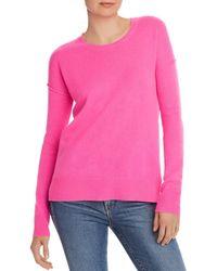 Aqua Cashmere High/low Crewneck Jumper - Pink