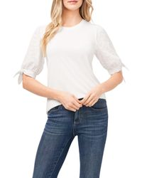 Cece Eyelet Puff Sleeve Top - White