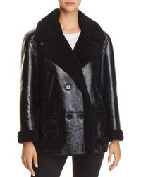 Theory - Patent Shearling Jacket - Lyst