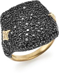 Armenta - 18k Yellow Gold & Blackened Sterling Silver Old World Champagne Diamond & Black Sapphire Signet Ring - Lyst