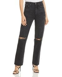 GRLFRND Mica Ripped Straight Leg Jeans In Lights Off - Multicolour