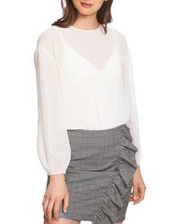 1.STATE Sheer Mixed - Media Bodysuit - White