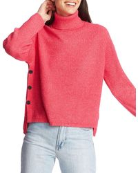 1.STATE Waffle-knit Button-detail Turtleneck Jumper - Pink