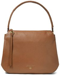 MICHAEL Michael Kors Grand Large Leather Hobo Shoulder Bag - Brown