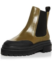 Aqua Mud Guard Block Heel Platform Chelsea Boots - Green