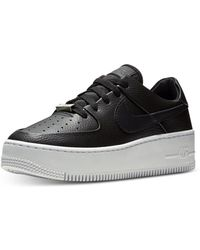 the best attitude 48837 9bc8c Nike Leather Air Force 1 Sage Low-top Sneakers in Black - Lyst