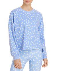 Aqua Athletic Printed Sweatshirt - Blue