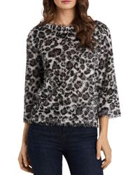 Vince Camuto - Leopard Print Eyelash Knit Top - Lyst