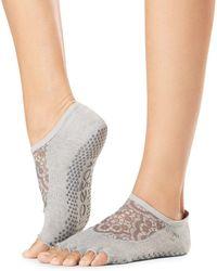 ToeSox Luna Mesh - Top Grip Toeless Barre Socks - Grey
