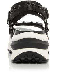 Ash Sunny Studded Platform Wedge Sandals - Black