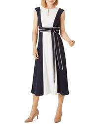 Hobbs Rae Colour Block Midi Dress - Blue