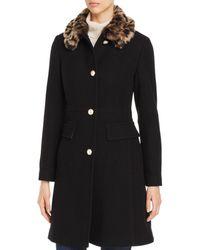 Kate Spade Cheetah Print Faux Fur Collar Coat - Black