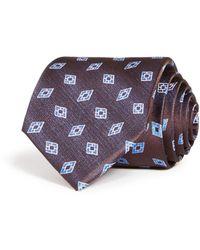 Bloomingdale's Diamond Neat Woven Silk Classic Tie - Brown
