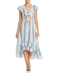Surf Gypsy Striped Tie - Front Ruffle Maxi Dress Swim Cover - Up - Blue