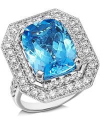 Bloomingdale's Blue Topaz & Diamond Statement Ring In 14k White Gold