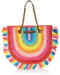 Kurt Geiger Chelsea Rainbow Stripe Raffia Tote - Multicolour