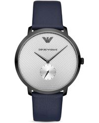 Armani Emporio Three - Hand Blue Leather Watch