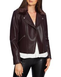 1.STATE - Pebbled Faux Leather Moto Jacket - Lyst