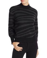 Aqua Cashmere Zebra - Stripe Balloon - Sleeve Cashmere Sweater - Black
