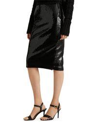 Ralph Lauren Lauren Sequin Pencil Skirt - Black