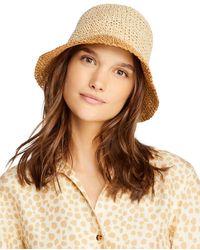 Aqua Ombré Paper Bucket Hat - Natural