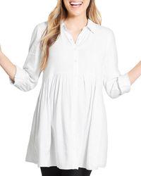Ingrid & Isabel Peplum Maternity Shirt - White