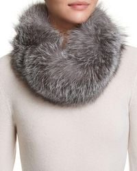 Surell Fox Fur Infinity Loop Scarf - Metallic