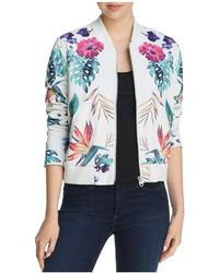 Aqua - Botanical Faux Leather Bomber Jacket - Lyst