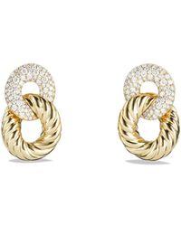 David Yurman - Belmont Curb Link Ring Drop Earrings With Diamonds In 18k Gold - Lyst