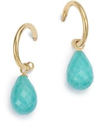 Bloomingdale's - Turquoise Briolette Hoop Drop Earrings In 14k Yellow Gold - Lyst