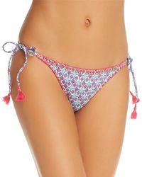 OndadeMar Embroidered String Tie Bikini Bottom - Blue